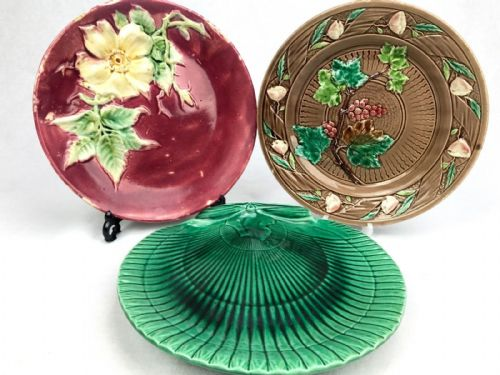 Victorian Majolica Plate Set Of 3 / Leaf Design / Shell Shape / Brown / Green
